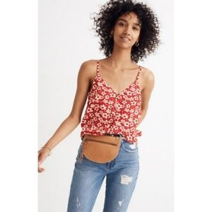 Madewell Red Full Bloom Button Down Cami 14 NWT
